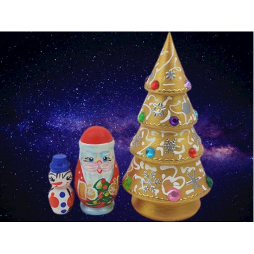 Gold Christmas Russian Nesting Tree