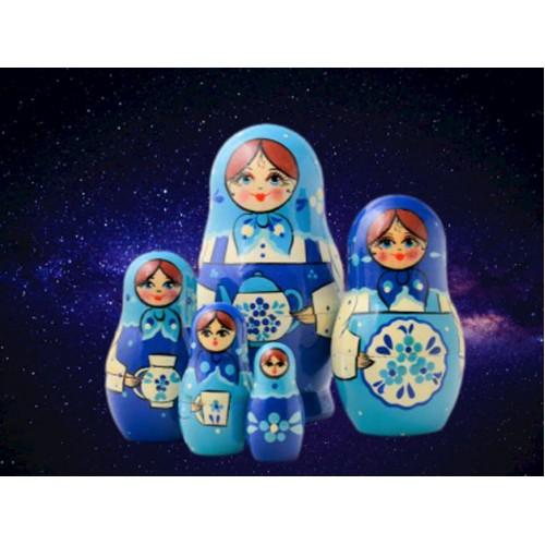 Blue Teapot Russian Nesting Dolls