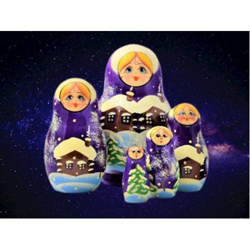 Christmas Village Scene Russian Nesting Dolls
