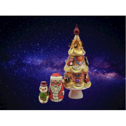 Beautifully Decorated Russian Christmas Nesting Tree