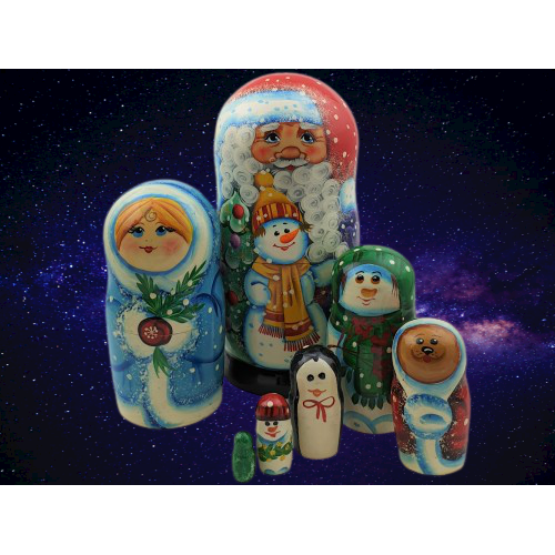 Father Christmas with Snowman Present Russian Nesting Dolls